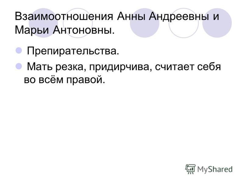 Взаимоотношения Анны Андреевны и Марьи Антоновны. Препирательства. Мать резка, придирчива, считает себя во всём правой.