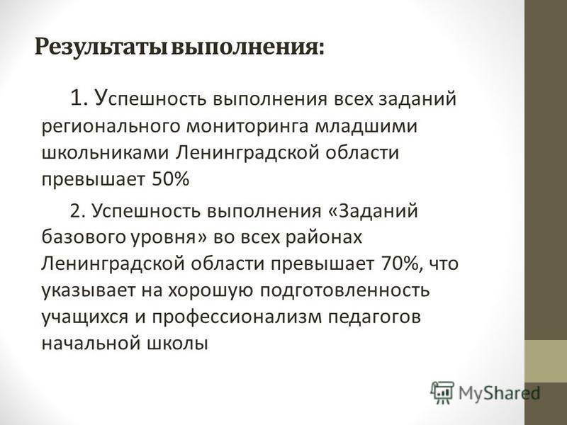 Результаты выполнения: 1. У спешность выполнения всех заданий регионального мониторинга младшими школьниками Ленинградской области превышает 50% 2. Успешность выполнения «Заданий базового уровня» во всех районах Ленинградской области превышает 70%, ч