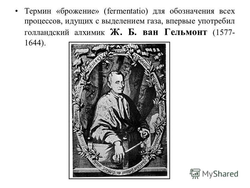 Термин «брожение» (fermentatio) для обозначения всех процессов, идущих с выделением газа, впервые употребил голландский алхимик Ж. Б. ван Гельмонт (1577- 1644).