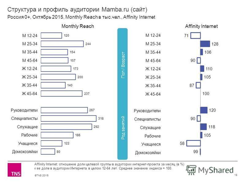 ©TNS 2015 Структура и профиль аудитории Mamba.ru (сайт) 18 Affinity Internet: отношение доли целевой группы в аудитории интернет-проекта за месяц (в %) к ее доле в аудитории Интернета в целом 12-64 лет. Среднее значение индекса = 100. Россия 0+, Октя