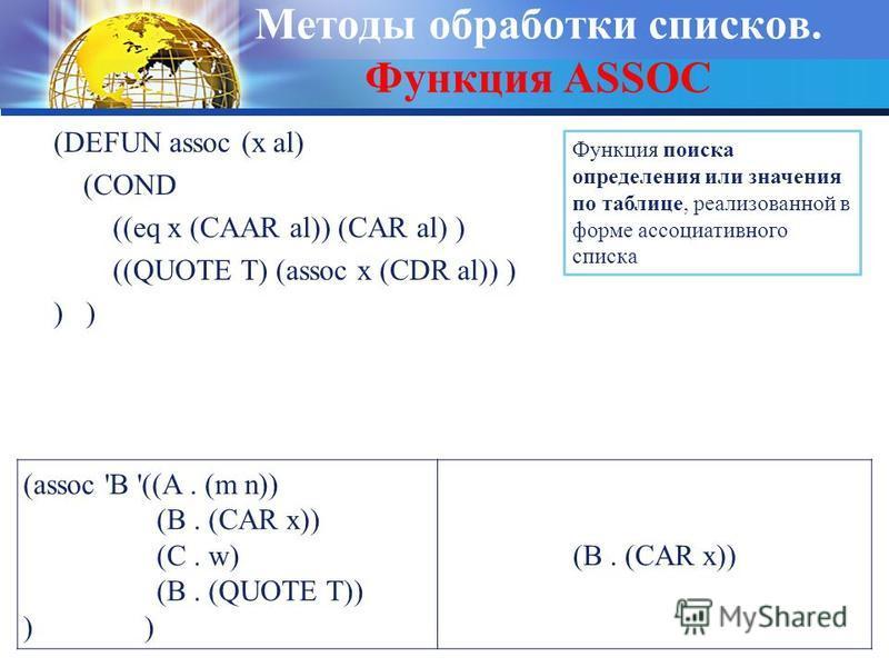 Методы обработки списков. Функция ASSOC (DEFUN assoc (x al) (COND ((eq x (CAAR al)) (CAR al) ) ((QUOTE T) (assoc x (CDR al)) ) ) Функция поиска определения или значения по таблице, реализованной в форме ассоциативного списка (assoc 'B '((A. (m n)) (B