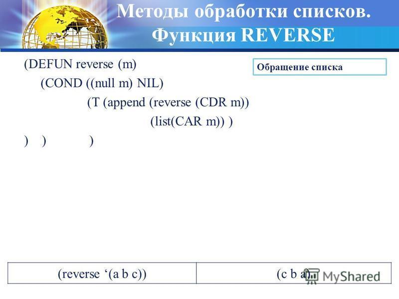 Методы обработки списков. Функция REVERSE (DEFUN reverse (m) (COND ((null m) NIL) (T (append (reverse (CDR m)) (list(CAR m)) ) ) ) ) Обращение списка (reverse (a b c))(c b a)