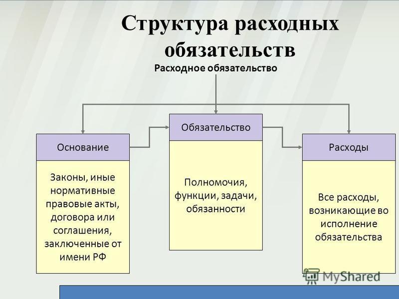 Структура расходных обязательств Расходное обязательство Законы, иные нормативные правовые акты, договора или соглашения, заключенные от имени РФ Полномочия, функции, задачи, обязанности Все расходы, возникающие во исполнение обязательства Основание
