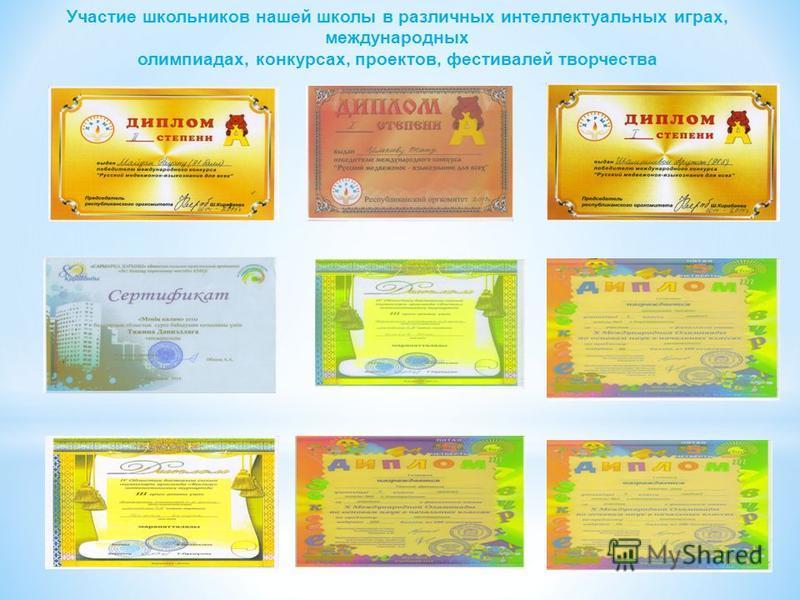 Участие школьников нашей школы в различных интеллектуальных играх, международных олимпиадах, конкурсах, проектов, фестивалей творчества