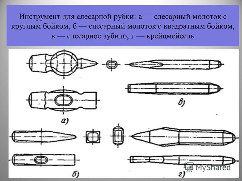 Инструмент для слесарной рубки: а слесарный молоток с круглым бойком, б слесарный молоток с квадратным бойком, в слесарное зубило, г крейцмейсель