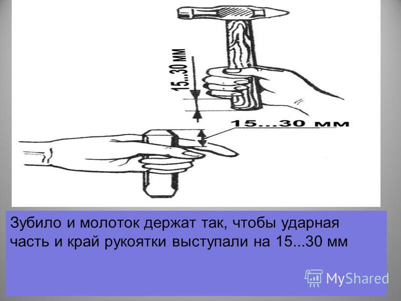 Зубило и молоток держат так, чтобы ударная часть и край рукоятки выступали на 15...30 мм