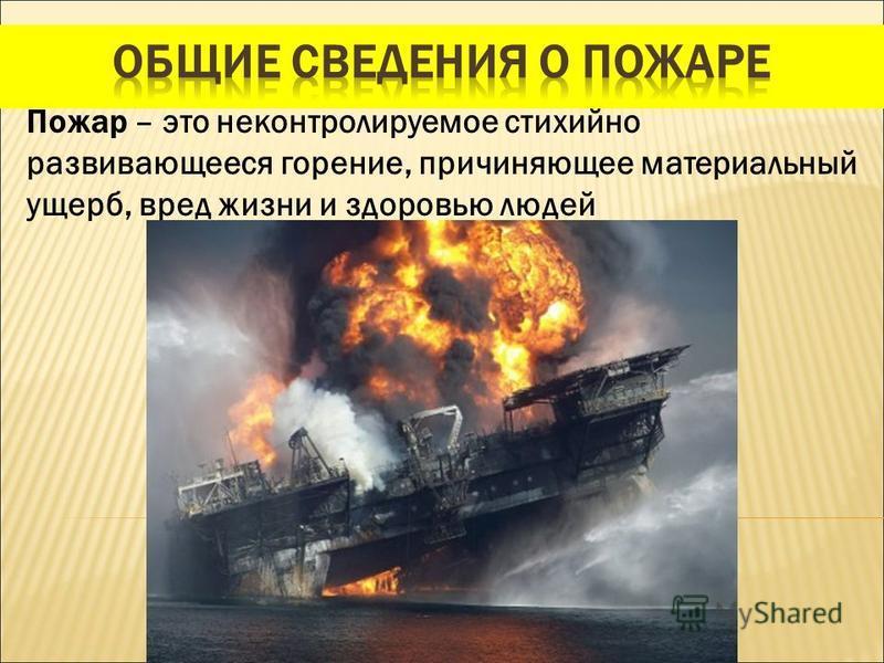Пожар – это неконтролируемое стихийно развивающееся горение, причиняющее материальный ущерб, вред жизни и здоровью людей