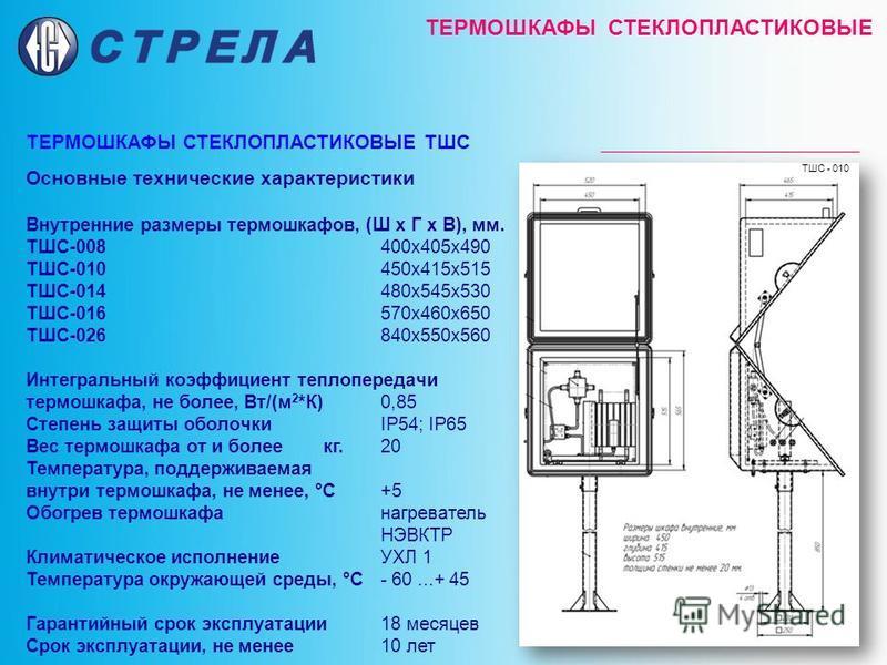 ТЕРМОШКАФЫ СТЕКЛОПЛАСТИКОВЫЕ ТЕРМОШКАФЫ СТЕКЛОПЛАСТИКОВЫЕ ТШС Основные технические характеристики Внутренние размеры термошкафов, (Ш х Г х В), мм. ТШС-008400 х 405 х 490 ТШС-010450 х 415 х 515 ТШС-014480 х 545 х 530 ТШС-016570 х 460 х 650 ТШС-026840