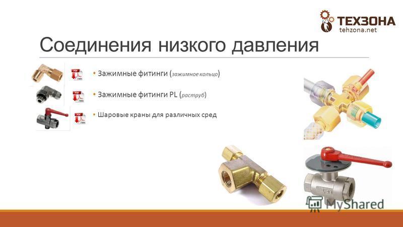 Соединения низкого давления Зажимные фитинги ( зажимное кольцо ) Зажимные фитинги PL ( раструб ) Шаровые краны для различных сред tehzona.net