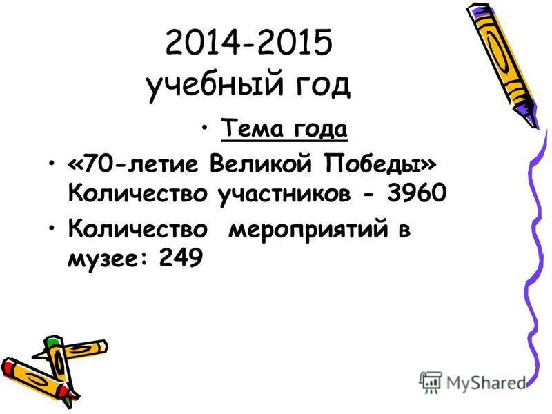 2014-2015 учебный год Тема года «70-летие Великой Победы» Количество участников - 3960 Количество мероприятий в музее: 249