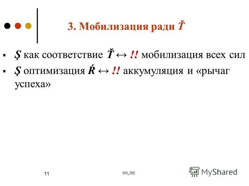 3. Мобилизация ради Ť !! Ş как соответствие Ť !! мобилизация всех сил !! Ş оптимизация Ŕ !! аккумуляция и «рычаг успеха» SM_302 11
