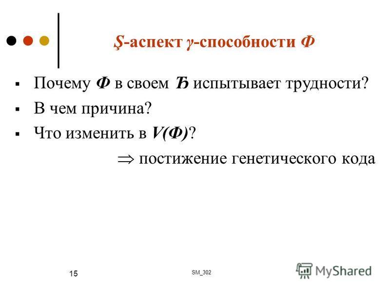 Ş-аспект γ-способности Ф Почему Ф в своем Ђ испытывает трудности? В чем причина? Что изменить в V(Ф)? постижение генетического кода SM_302 15