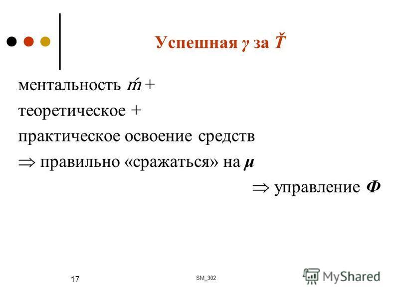 Успешная γ за Ť ментальность + теоретическое + практическое освоение средств правильно «сражаться» на μ управление Ф SM_302 17