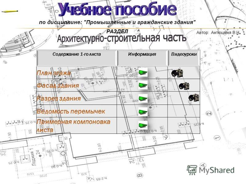 по дисциплине: Промышленные и гражданские здания РАЗДЕЛ Автор: Антюшеня В.Н.