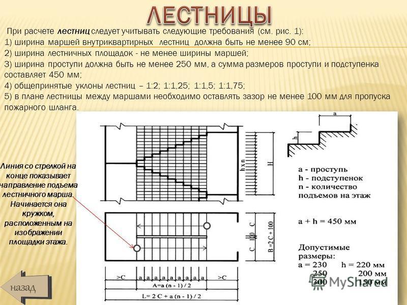 При расчете лестниц следует учитывать следующие требования (см. рис. 1): 1) ширина маршей внутриквартирных лестниц должна быть не менее 90 см; 2) ширина лестничных площадок - не менее ширины маршей; 3) ширина проступи должна быть не менее 250 мм, а с