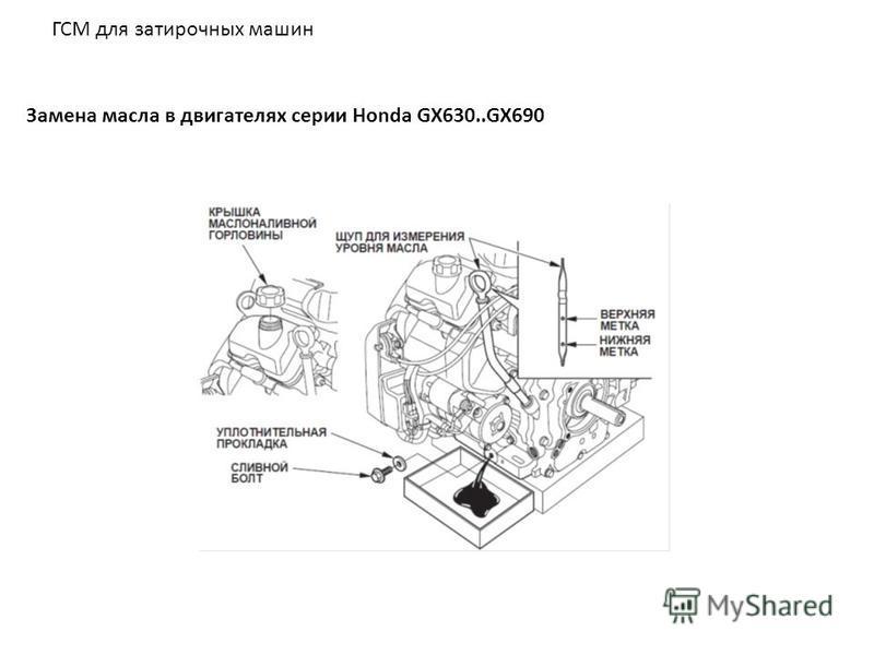 ГСМ для затирочных машин Замена масла в двигателях серии Honda GX630..GX690