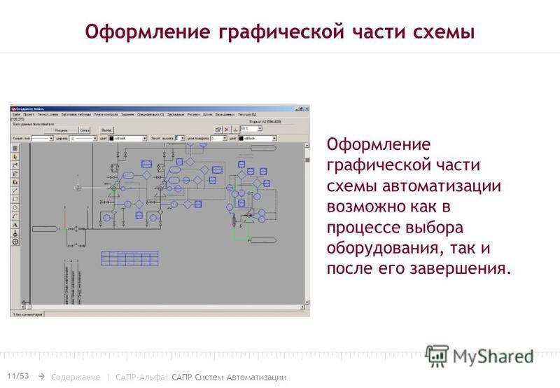 11/53 Содержание | САПР-Альфа| САПР Систем Автоматизации Оформление графической части схемы Оформление графической части схемы автоматизации возможно как в процессе выбора оборудования, так и после его завершения.