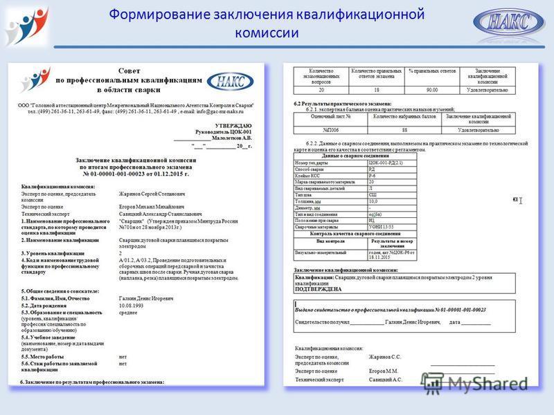 Формирование заключения квалификационной комиссии