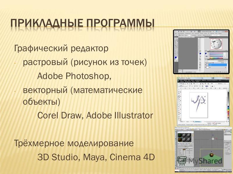 Графический редактор - растровый (рисунок из точек) Adobe Photoshop, - векторный (математические объекты) Corel Draw, Adobe Illustrator Трёхмерное моделирование 3D Studio, Maya, Cinema 4D