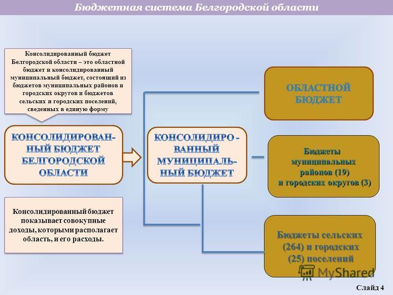 Консолидированный бюджет Белгородской области – это областной бюджет и консолидированный муниципальный бюджет, состоящий из бюджетов муниципальных районов и городских округов и бюджетов сельских и городских поселений, сведенных в единую форму Консоли
