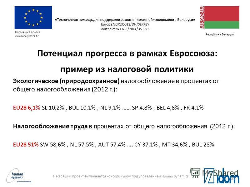 Настоящий проект выполняется консорциумом под управлением Human Dynamics Настоящий проект финансируется ЕС Республика Беларусь Потенциал прогресса в рамках Евросоюза: пример из налоговой политики Экологическое (природоохранное) налогообложение в проц