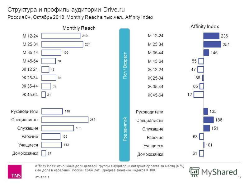 ©TNS 2013 X AXIS LOWER LIMIT UPPER LIMIT CHART TOP Y AXIS LIMIT Структура и профиль аудитории Drive.ru 12 Affinity Index: отношение доли целевой группы в аудитории интернет-проекта за месяц (в %) к ее доле в населении России 12-64 лет. Среднее значен