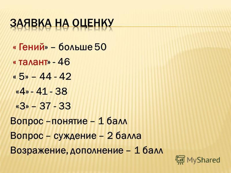 « Гений» – больше 50 « талант» - 46 « 5» – 44 - 42 «4» - 41 - 38 «3» – 37 - 33 Вопрос –понятие – 1 балл Вопрос – суждение – 2 балла Возражение, дополнение – 1 балл