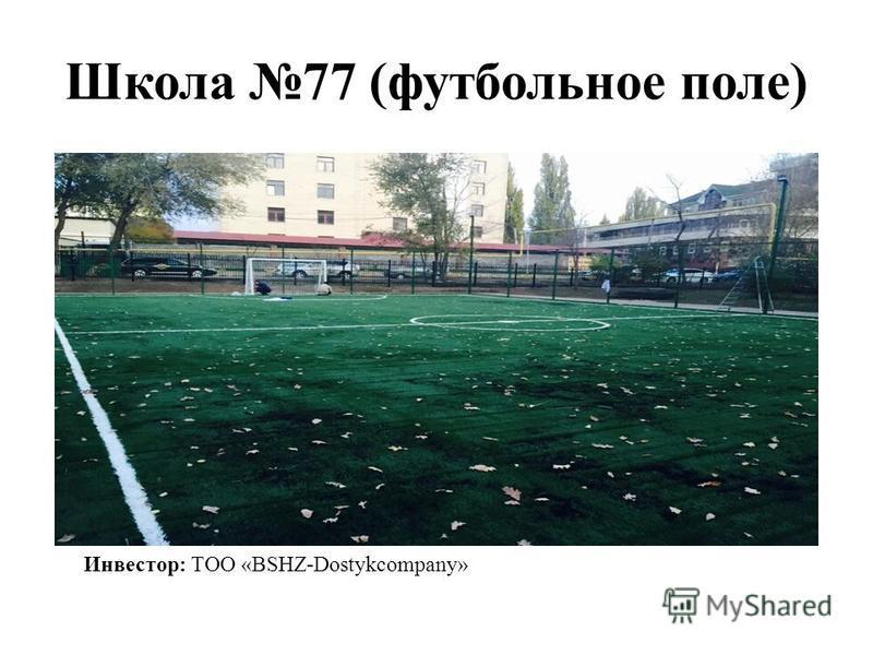 Школа 77 (футбольное поле) Инвестор: ТОО «BSHZ-Dostykcompany»