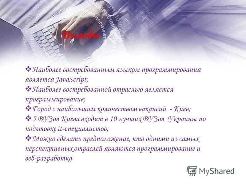 Выводы Наиболее востребованным языком программирования является JavaScript; Наиболее востребованной отраслью является программирование; Город с наибольшим количеством вакансий - Киев; 5 ВУЗов Киева входят в 10 лучших ВУЗов Украины по подготовке it-сп