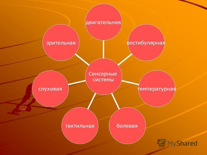 Сенсорные системы двигательнаявестибулярнаятемпературнаяболеваятактильнаяслуховаязрительная