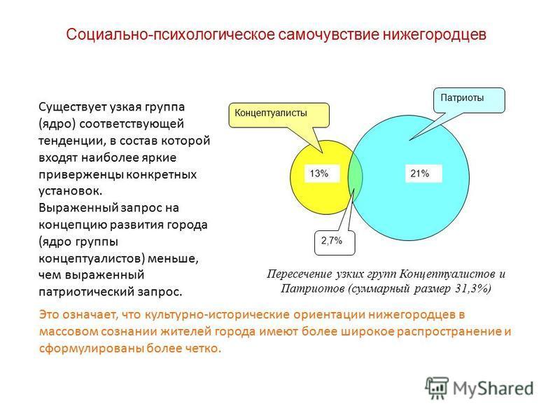 Социально-психологическое самочувствие нижегородцев 13%21% Концептуалисты Патриоты 2,7% Существует узкая группа (ядро) соответствующей тенденции, в состав которой входят наиболее яркие приверженцы конкретных установок. Выраженный запрос на концепцию