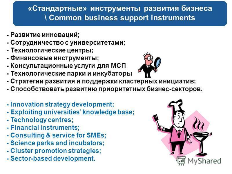 «Стандартные» инструменты развития бизнеса \ Common business support instruments - Развитие инноваций; - Сотрудничество с университетами; - Технологические центры; - Финансовые инструменты; - Консультационные услуги для МСП - Технологические парки и