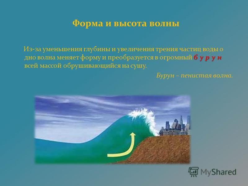 Форма и высота волны бурун Из-за уменьшения глубины и увеличения трения частиц воды о дно волна меняет форму и преобразуется в огромный бурун всей массой обрушивающийся на сушу. Бурун – пенистая волна.