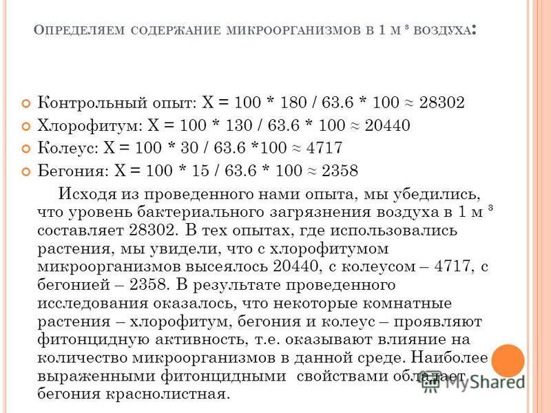 О ПРЕДЕЛЯЕМ СОДЕРЖАНИЕ МИКРООРГАНИЗМОВ В 1 М ³ ВОЗДУХА : Контрольный опыт: Х = 100 * 180 / 63.6 * 100 28302 Хлорофитум: Х = 100 * 130 / 63.6 * 100 20440 Колеус: Х = 100 * 30 / 63.6 *100 4717 Бегония: Х = 100 * 15 / 63.6 * 100 2358 Исходя из проведенн