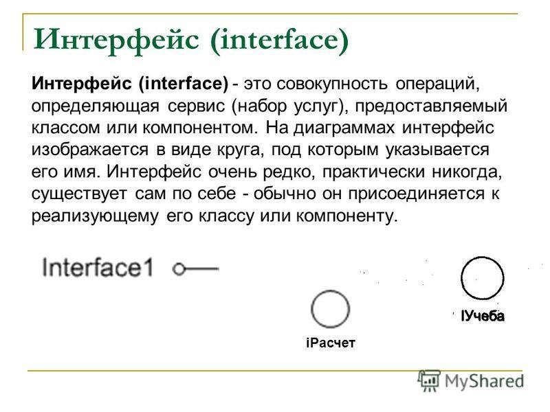 Интерфейс (interface) Интерфейс (interface) - это совокупность операций, определяющая сервис (набор услуг), предоставляемый классом или компонентом. На диаграммах интерфейс изображается в виде круга, под которым указывается его имя. Интерфейс очень р