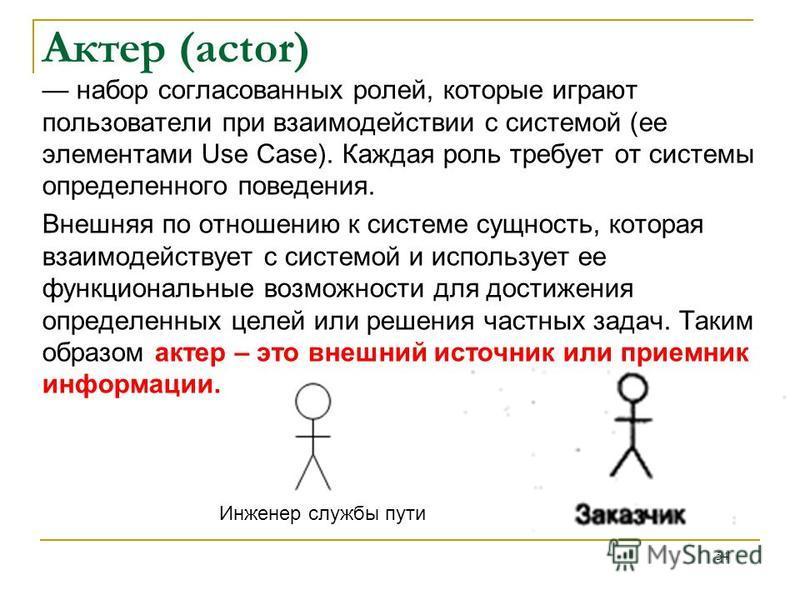 Актер (actor) набор согласованных ролей, которые играют пользователи при взаимодействии с системой (ее элементами Use Case). Каждая роль требует от системы определенного поведения. Внешняя по отношению к системе сущность, которая взаимодействует с си