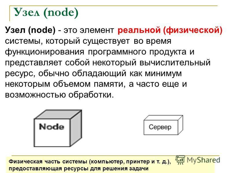 Узел (node) Узел (node) - это элемент реальной (физической) системы, который существует во время функционирования программного продукта и представляет собой некоторый вычислительный ресурс, обычно обладающий как минимум некоторым объемом памяти, а ча