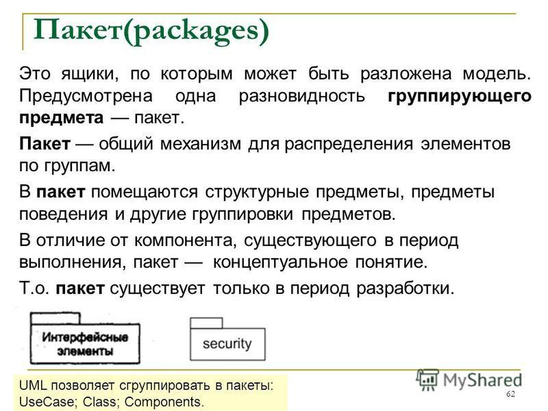 Пакет(packages) Это ящики, по которым может быть разложена модель. Предусмотрена одна разновидность группирующего предмета пакет. Пакет общий механизм для распределения элементов по группам. В пакет помещаются структурные предметы, предметы поведения