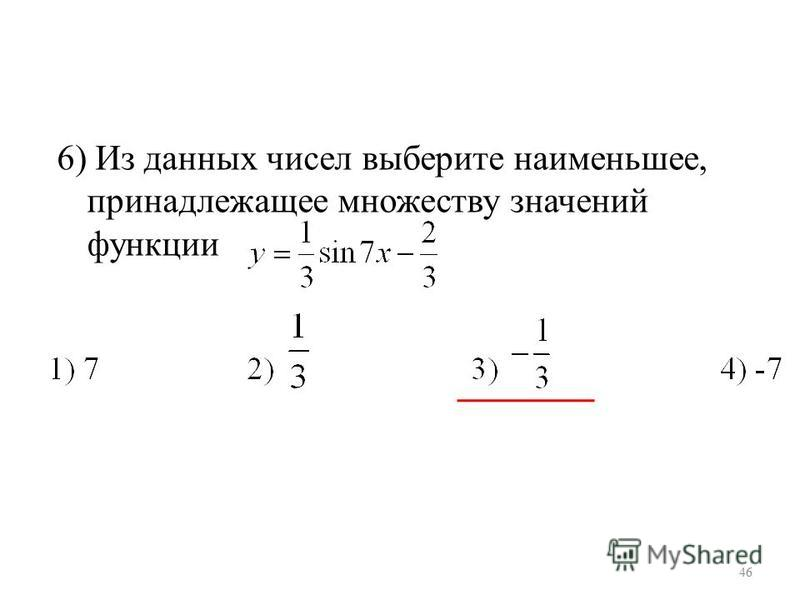 6) Из данных чисел выберите наименьшее, принадлежащее множеству значений функции 46