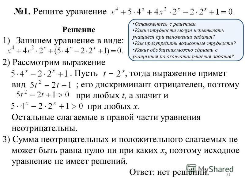 Решение 1)Запишем уравнение в виде: 2) Рассмотрим выражение. Пусть, тогда выражение примет вид ; его дискриминант отрицателен, поэтому при любых t, а значит и при любых х. Остальные слагаемые в правой части уравнения неотрицательны. 3) Сумма неотрица