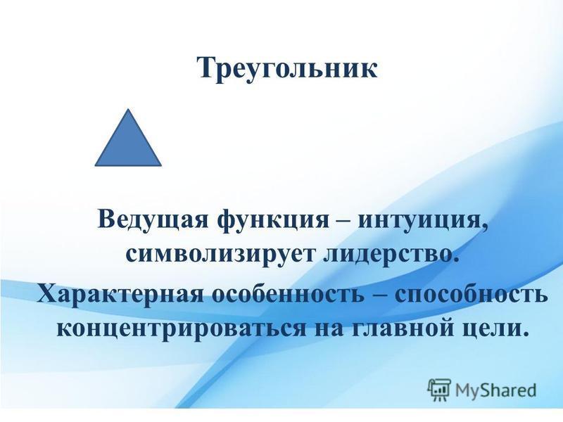 Треугольник Ведущая функция – интуиция, символизирует лидерство. Характерная особенность – способность концентрироваться на главной цели.