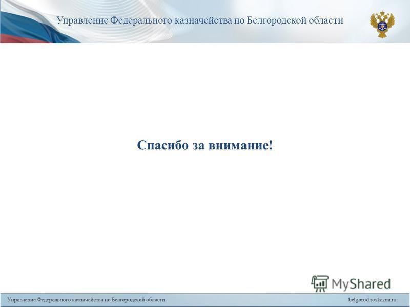 18 Спасибо за внимание! Управление Федерального казначейства по Белгородской области