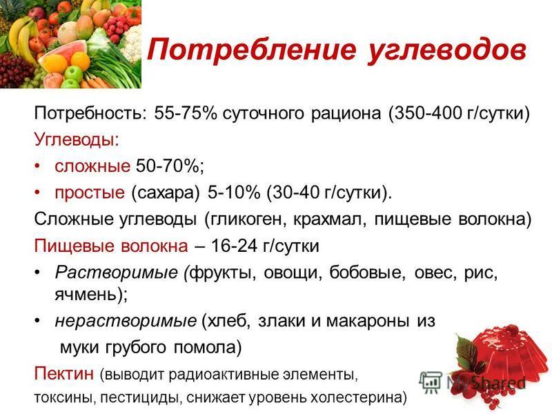 Потребление углеводов Потребность: 55-75% суточного рациона (350-400 г/сутки) Углеводы: сложные 50-70%; простые (сахара) 5-10% (30-40 г/сутки). Сложные углеводы (гликоген, крахмал, пищевые волокна) Пищевые волокна – 16-24 г/сутки Растворимые (фрукты,