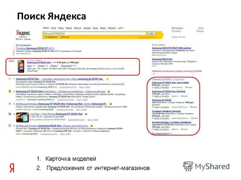Поиск Яндекса 1. Карточка моделей 2. Предложения от интернет-магазинов