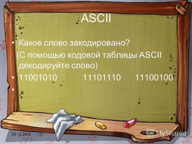 25.12.201513 ASCII Какое слово закодировано? (С помощью кодовой таблицы ASCII декодируйте слово) 11001010 11101110 11100100