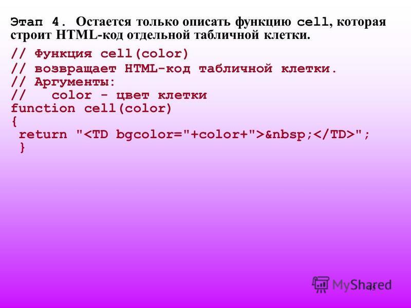 45 Этап 4. Остается только описать функцию cell, которая строит HTML-код отдельной табличной клетки. // Функция cell(color) // возвращает HTML-код табличной клетки. // Аргументы: //color - цвет клетки function cell(color) { return  ; }