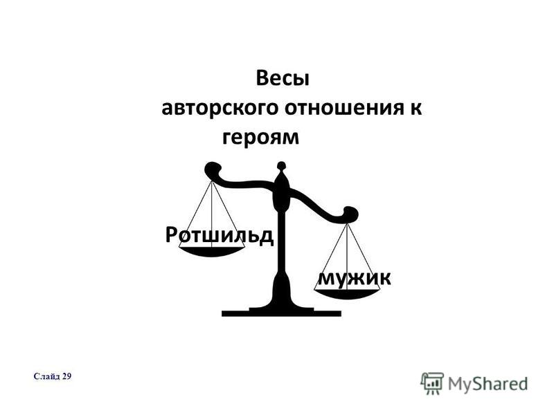 Весы авторского отношения к героям Ротшильд мужик Слайд 29
