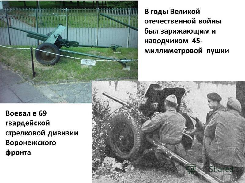 В годы Великой отечественной войны был заряжающим и наводчиком 45- миллиметровой пушки Воевал в 69 гвардейской стрелковой дивизии Воронежского фронта