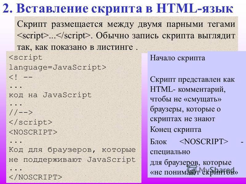 Скрипт размещается между двумя парными тегами.... Обычно запись скрипта выглядит так, как показано в листинге. 2. Вставление скрипта в HTML-язык Начало скрипта Скрипт представлен как HTML- комментарий, чтобы не «смущать» браузеры, которые о скриптах