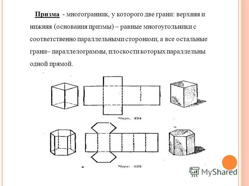 Призма - многогранник, у которого две грани: верхняя и нижняя (основания призмы) – равные многоугольники с соответственно параллельными сторонами, а все остальные грани– параллелограммы, плоскости которых параллельны одной прямой.